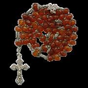 Genuine Amber Art Nouveau Rosary – French Hallmarks & Family Heirloom