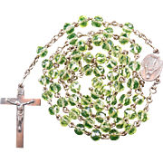 Scarce 1940s Silvered Uranium Glass Rosary – Miraculous Medal Center