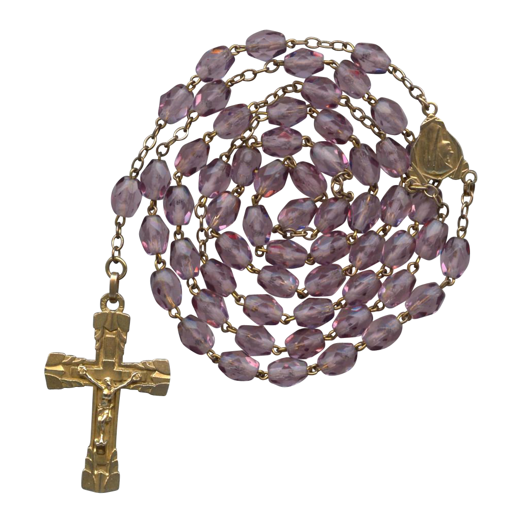 Sparkling Vintage Catholic Art Deco Amethyst Glass Rosary