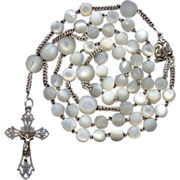 Large French Art Nouveau Mother-of-Pearl & Silver Rosary – Puffed Center – 60 Grams