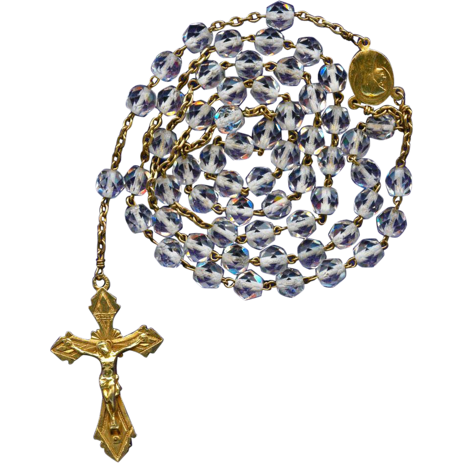 Glowing Vintage French Gilded Catholic Rosary – Signed AP & Bouix