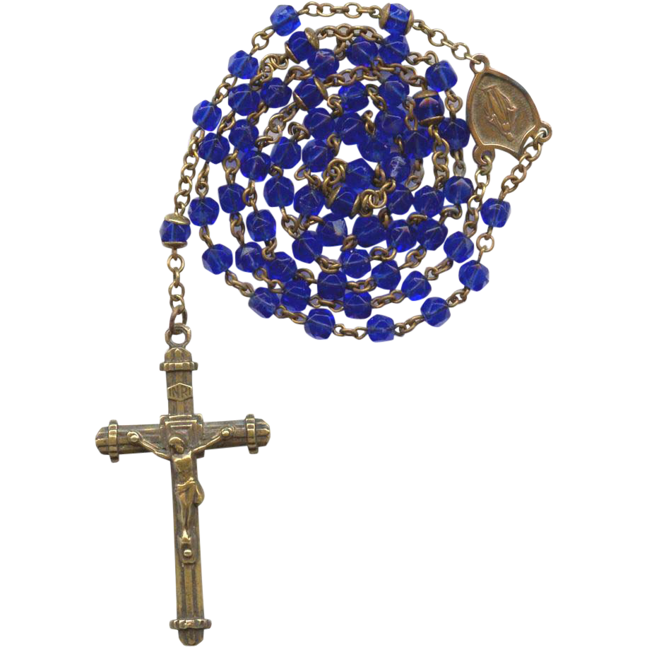 Regal Vintage Copper & Cobalt Glass Catholic Rosary – Czechoslovakia