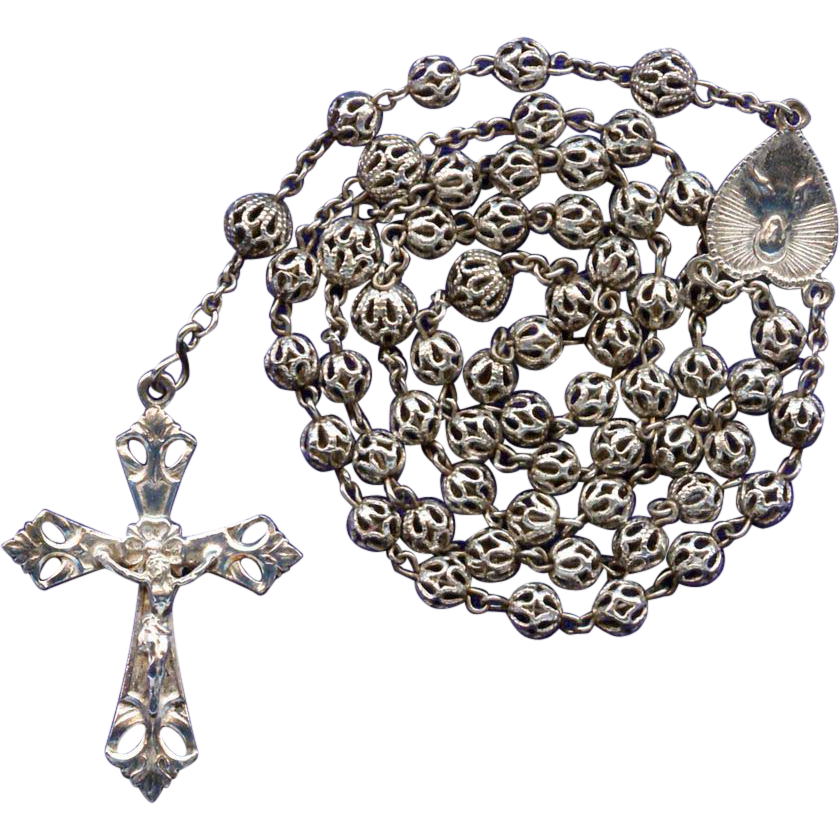 Vintage Feminine All-Filigree Catholic Rosary – Glowing Alpacca