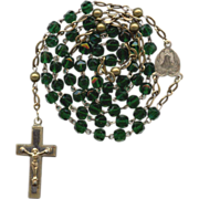 Antique Victorian Pressed Glass & Brass German Catholic Rosary – Rare Forest Green Beads