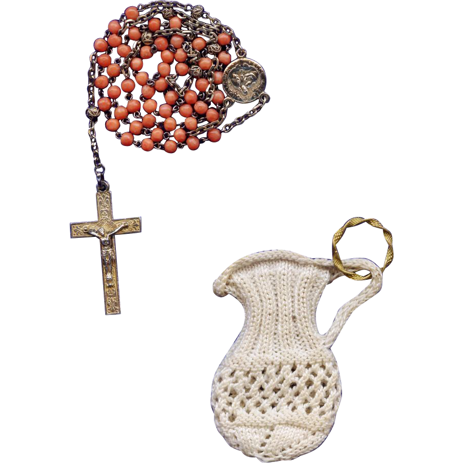 Rare French First Communion Rosary in Coral & Gold Vermeil – Engravable with Crocheted Ring Pouch