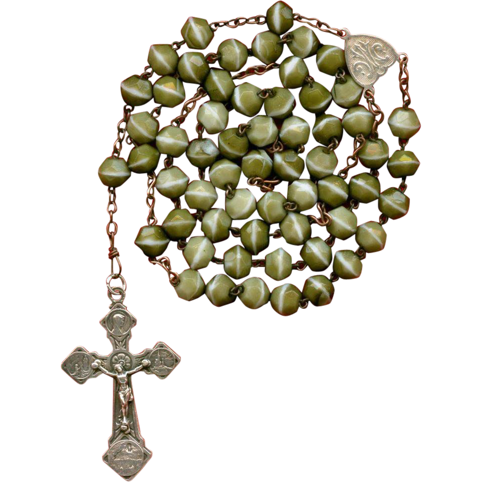 Outstanding Vintage Catholic Art Glass Lourdes Pilgrimage Rosary – 60 Grams