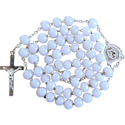 Pristine Antique Victorian Silver & Milk Glass Catholic Rosary – French Hallmarks – Unique Crucifix