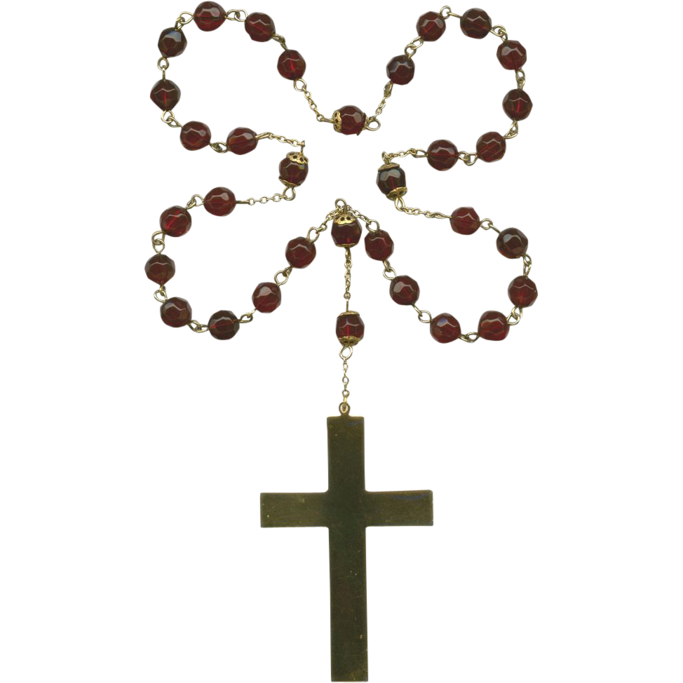 Ruby Red Glass Anglican Rosary – Large Gold Tone Cross