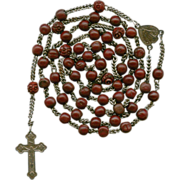 Rare Antique 19C Bois Durci & Steel Victorian Catholic Rosary – Souvenir de Mission