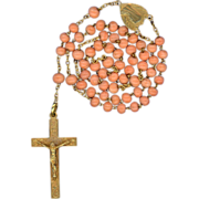 Rare Antique 18K Gold & Coral Catholic Rosary – French Eagle Hallmark