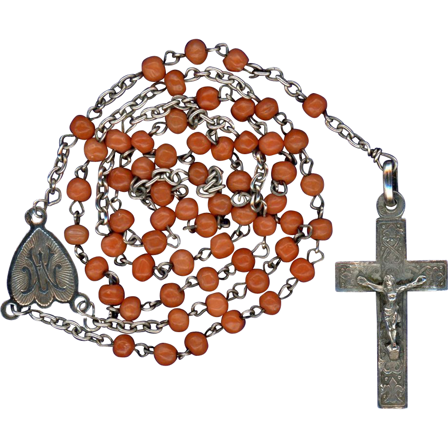 Vibrant Antique Victorian Coral & Silver Catholic Rosary