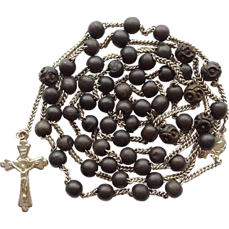 Antique Victorian Catholic Mourning Rosary – Extended Chain