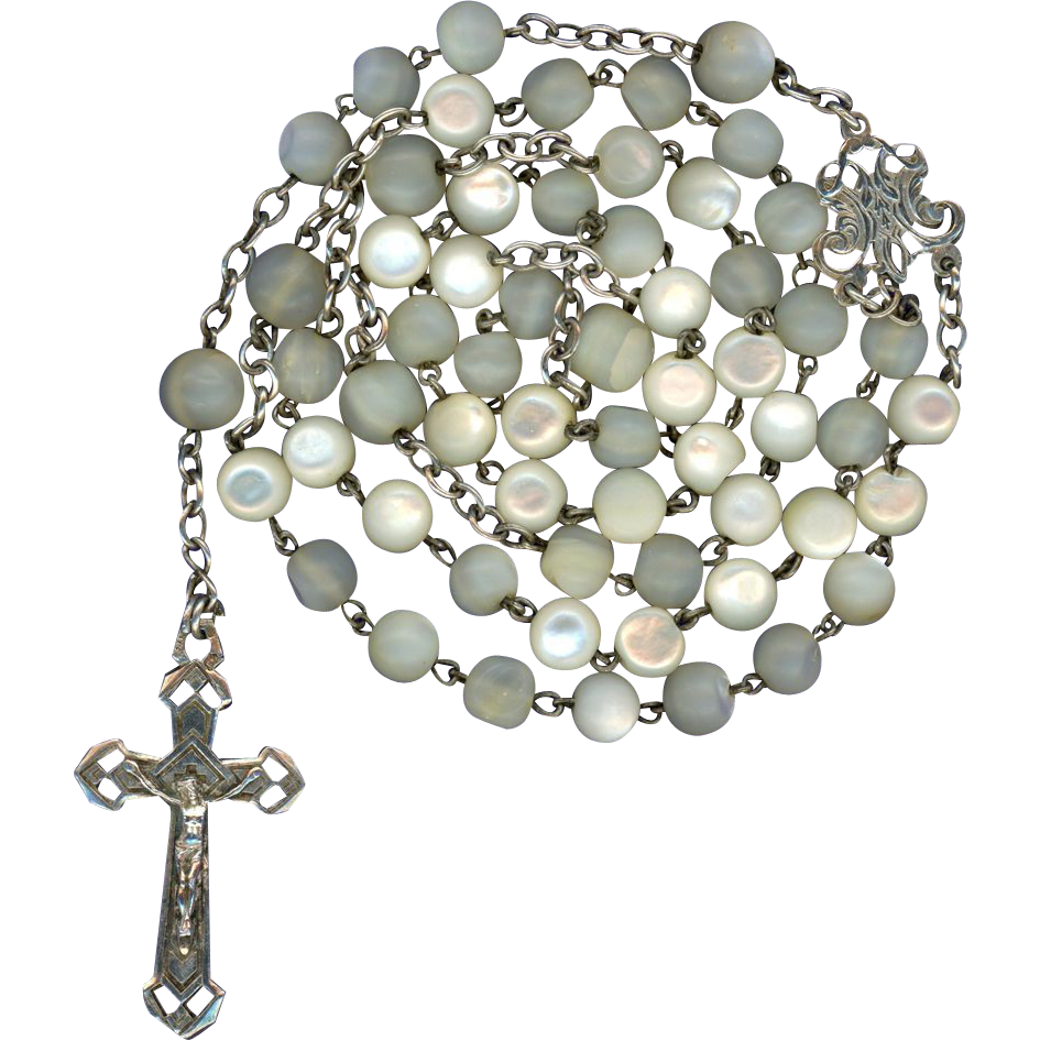 French Art Nouveau Silver & Mother-of-Pearl Rosary - Sweet & Petite