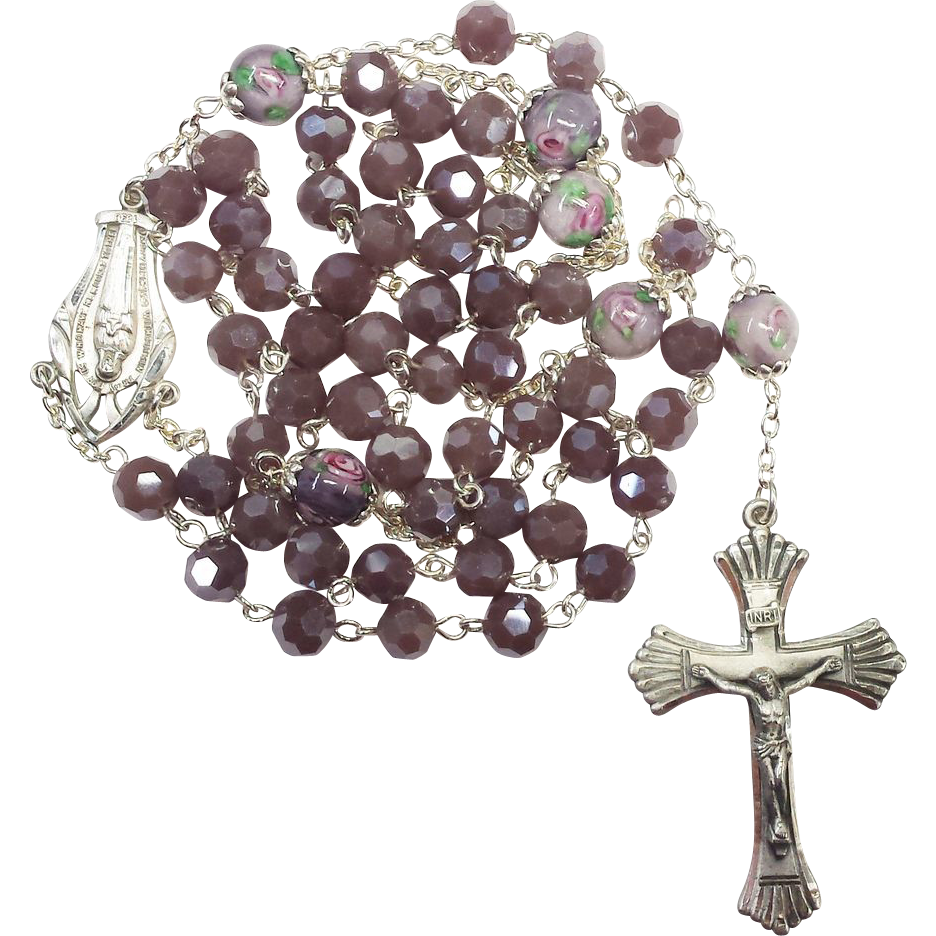 Serene Sterling & Mauve Glass & Lampwork Catholic Rosary – 56 Feminine Grams