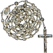 "Scarce Vintage Creed Sterling Glass Pearl ""Wedding Bell"" Rosary – 47 Grams"