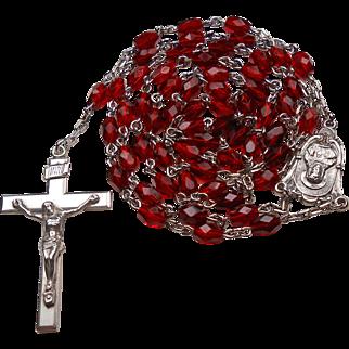 Elegant Sterling & Ruby Red Crystal Rosary – NOS