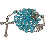 Stunning Aquamarine Glass & Sterling Rosary – Floral Crucifix & Bead Caps