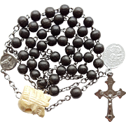 Antique Catholic Chaplet Rosary Beads for the Dead – France – Carved Bone Memento Mori