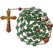 Elegant 1940s Green Glass & Copper Rosary