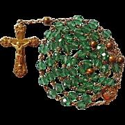 Elegant 1940s Green Glass & Copper Rosary
