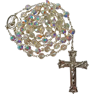 Unusual Nail Head Swarovski Crystal Rosary – NOS – 56 Grams