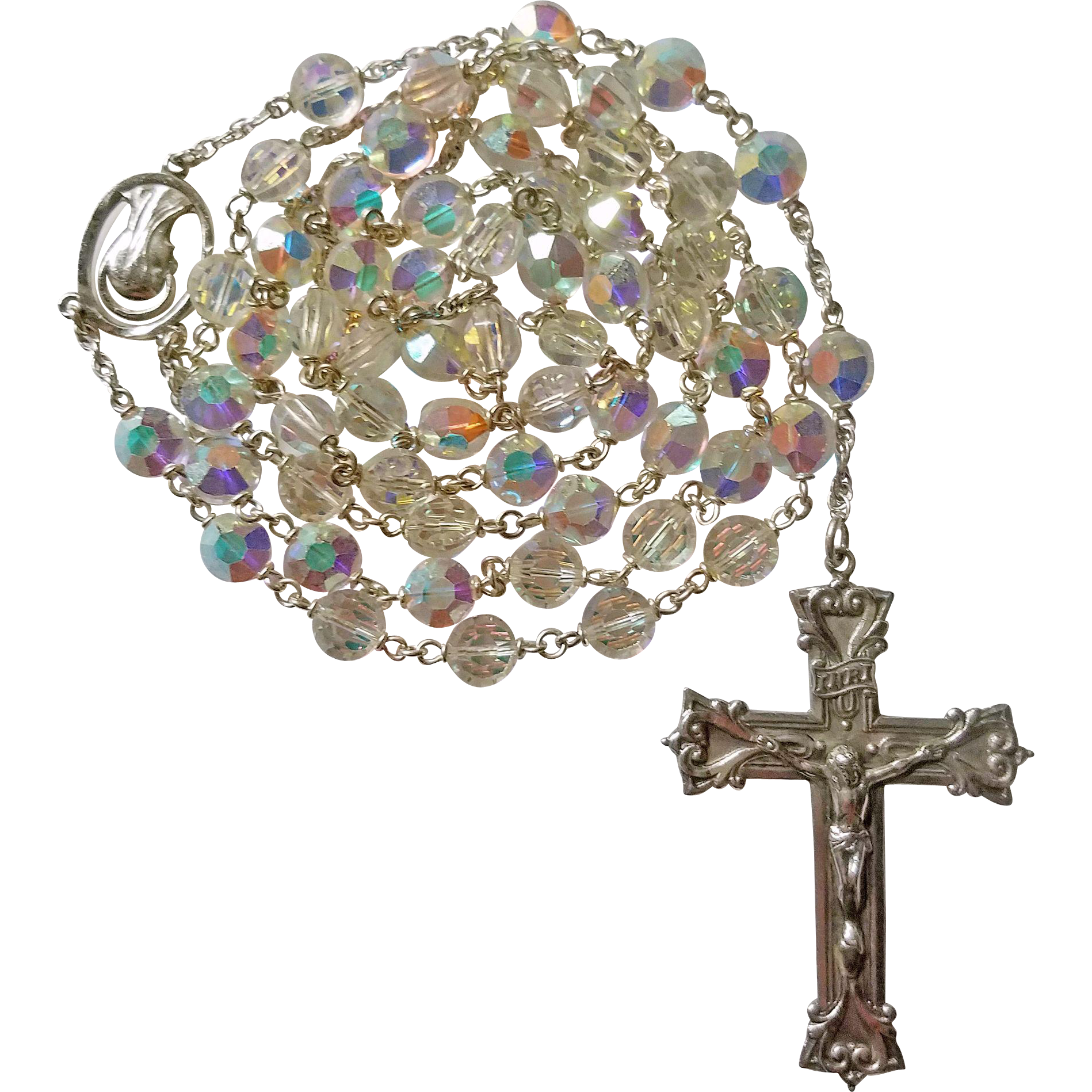 Unusual Nail Head Swarovski Crystal Rosary – NOS – 56 Grams