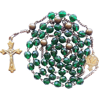 Antique Victorian Catholic Rosary – Hunter Green Glass & Brass