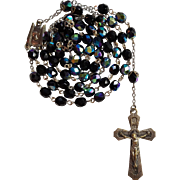 Art Deco Black Glass Catholic Rosary – France