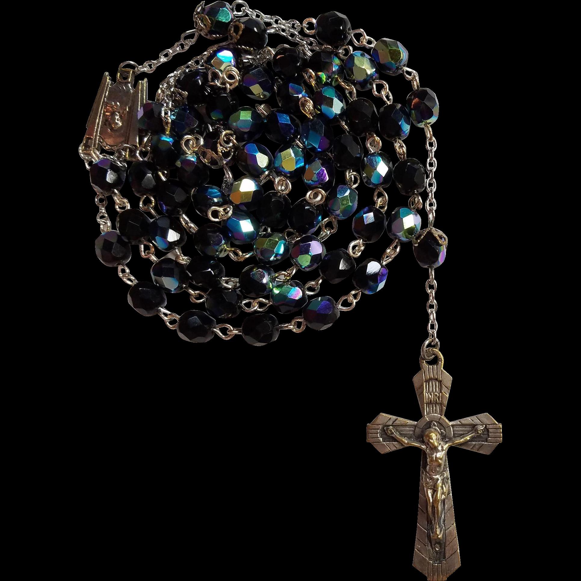 Art Deco Black Glass Catholic Rosary – France