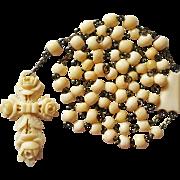 Antique German Bone Rosary – Carved Rose Cross – 48 Grams