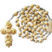 Antique German Bone Rosary – Carved Rose Cross – 48 Grams