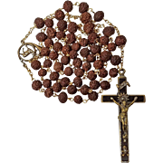 Brass & Seed Bead Catholic Rosary – St. Hubert Center – Skull & Crossbones Crucifix – 52 Grams