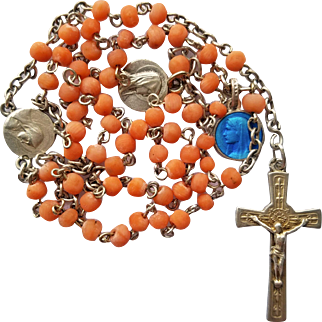 Vintage French Silver & Coral Catholic Rosary – Lourdes Pilgrimage & Medals