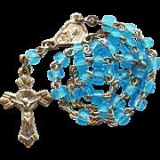 Miniature Italian Aqua Glass Anglican Rosary for Poupee Doll