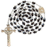 Vintage Catholic Black Core Crystal Rosary – Scarce Fleury Crucifix – 42 Grams