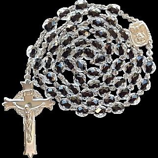 Vintage Catholic Black Core Crystal Rosary – Scarce Fleury Crucifix – 42 Grams