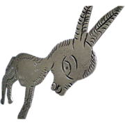 "Early TAXCO Mexico Pre-Eagle 1930's Handmade .980 Silver Big WOOLLY BURRO BROOCH ~  2-3/4"" x 2-1/2"" ~ Iconic Collectible!"