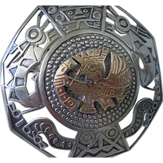 Inca Goth! AMAZING Mid-century Peru .925 Silver + 18K Gold Handwrought Openwork Tribal Inca BROOCH PENDANT with Serpent-winged Flying Bat