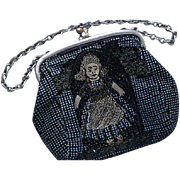 "Charming Antique Early 20th-Century Black Fabric Hand-painted ""Dutch Girl"" FIGURAL CHILD'S PURSE Doll's Purse Coin Purse with Silver Metal Frame + Chain Handle"