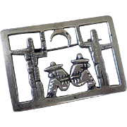"""MEXICO Art Deco 1920s 1930s Hand-forged .900 Silver """"Dos Amigos"""" Openwork Iconic Siesta FOLK ART BROOCH"""