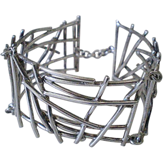 "Awesome Avant-garde MEXICO 1960s Mid-century Studio Handwrought Sterling Silver Abstract MODERNIST ""STICK"" BRACELET ~ 48 Grams"