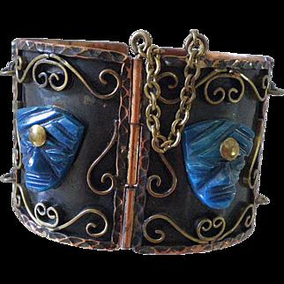 MASSIVE Mid-century 1950's MEXICO Handmade Mixed Metals Copper, Brass + Carved Lapis Blue Art Glass Aztec Tribal PANEL BRACELET ~ 107 Grams
