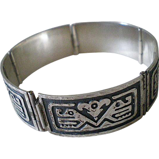 Iconic Mid-century MEXICO Handwrought Sterling Silver Overlay Tribal Two Headed Snake SERPENT PANEL BRACELET ~ 29 Grams