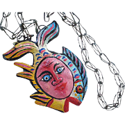 "ONE-OF-A-KIND Vintage Mexican Handcrafted Surreal Modernist Polychrome Painted Tin ""Fish Man"" OUTSIDER FOLK ART Pendant Necklace"