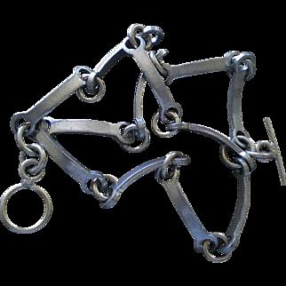 Striking METTE + FINN Aero Danish Mid-century Pewter INDUSTRIAL MODERNIST Three Strand Multilink Bracelet ~ 39 Grams ~ Rare Find!