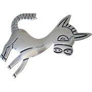 Folkloric TAXCO Mexico Mid-century Modernist 1950's Signed Handmade Winsome Sterling Silver BURRO BROOCH