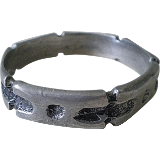 Formidable Early ROBERT LARIN 1960s Mid-century Canadian Modernist Silver Plated Pewter BRUTALIST BANGLE Bracelet ~ 55 Grams