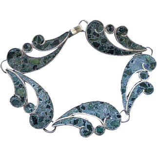 "ELEGANT Mexico City Mexico Mid-century Handwrought Sterling Silver Mosaico Azteca Crushed Gemstone Inlay ""WAVE"" LINK BRACELET"