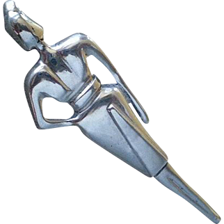 "SENSATIONAL Rare 1920s European Hand-forged .925 Silver Art Deco Bauhaus Streamline Moderne Stylized WOMAN FIGURAL BROOCH ~ 2-7/8"" High"