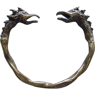 Awesome BRUALIST Mid-century Hand-forged Solid Bronze Double Headed DRAGON CUFF BRACELET ~ 48 Grams